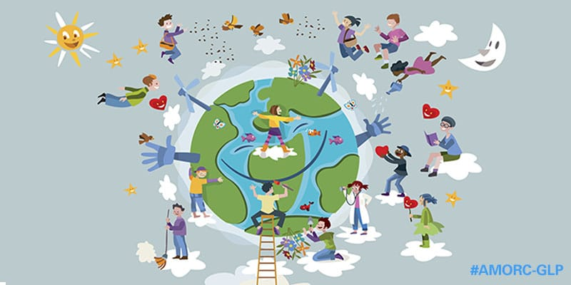 Circle of happy children of different races working and playing together take care of Planet Earth.